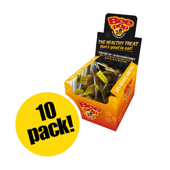 BeePower brand Bee-Pop Honey Lollipops (Pack of 10)