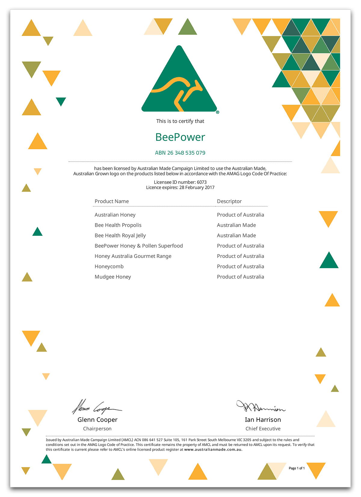 Beepower Honey is a certified Product of Australia