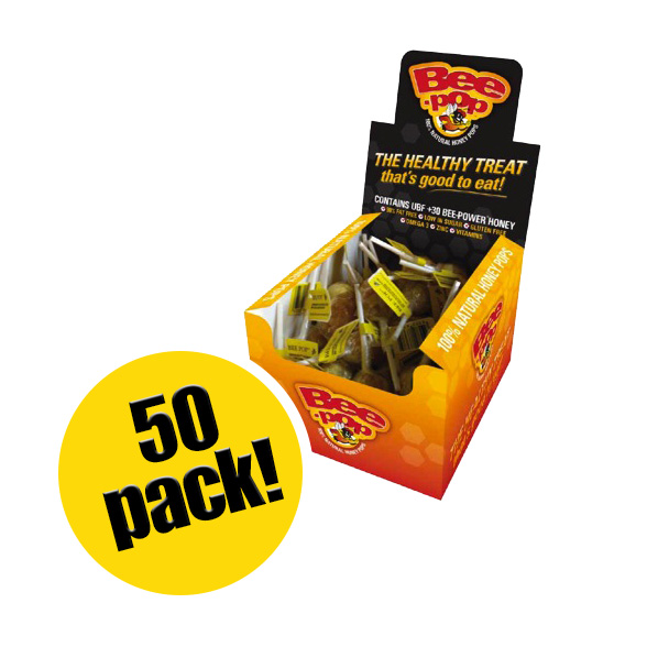 BeePower brand Bee-Pop Honey Lollipops (Box of 50)