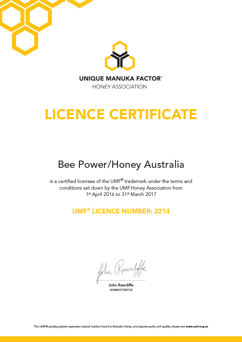UMF Unique Manuka Factor Honey - UMF Certification Certificate Image